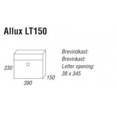 Brievenbus Allux LT150 zwart met grijze klep