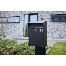Design brievenbus met LED-verlichting Allux Bjørn - zwart