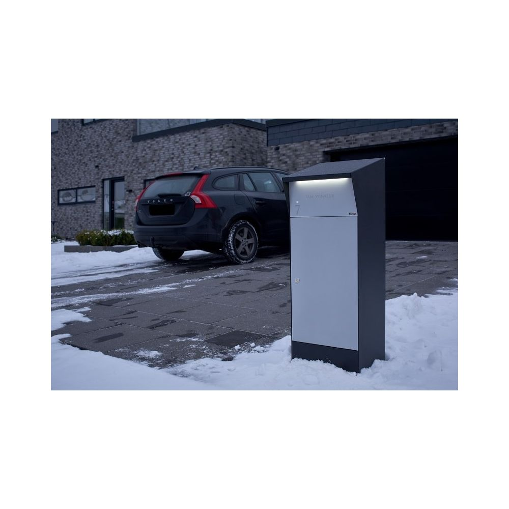 Pakketbrievenbus met LED-verlichting Allux Bj�rn - zwart/grijs