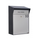 Design brievenbus met LED-verlichting Allux Bj�rn - zwart/grijs