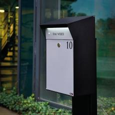 Design brievenbus met LED-verlichting Allux Bjørn - zwart/grijs
