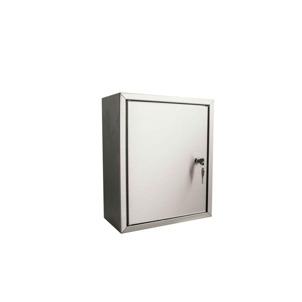 STOER! Post inbouwkast met deurtje RVS 215mm