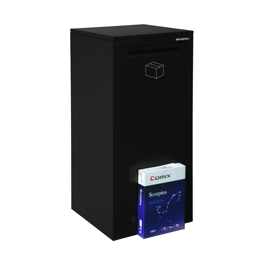 Pakketbrievenbus Logixbox Frontbox DeLuxe achteruitname - zwart