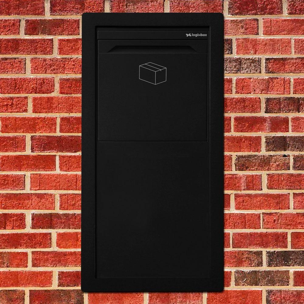 Pakketbrievenbus Logixbox Frontbox-Inbouw achteruitname incl. frame - zwart