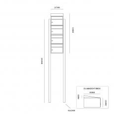 Brievenbusunit Brickset met statief 4-hoog met dak - antraciet
