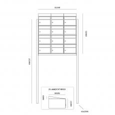 Brievenbusunit Brickset met statief 3-breed 4-hoog met dak - zwart