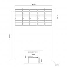 Brievenbusunit Brickset met statief 5-breed 3-hoog met dak - antraciet