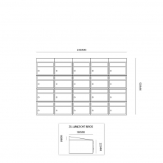 Brievenbusunit Brickset wand 5-breed 4-hoog met dak - antraciet