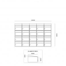 Brievenbusunit Brickset 5-breed 4-hoog met dak - zwart
