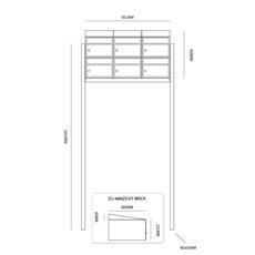 Brievenbusunit Brickset met statief 3-breed 2-hoog met dak - antraciet