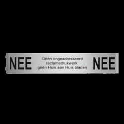 NEE|NEE reclamebordje 12,5x2,5 cm. - RVS