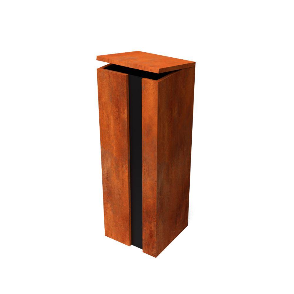 Geroba pakketbrievenbus Collu - Combo cortenstaal/zwart
