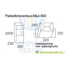 Pakketbrievenbus Allux 600 gegalvaniseerd